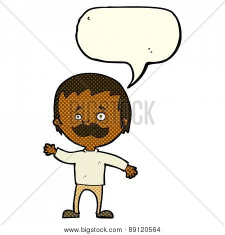 cartoon man with mustache waving with speech bubble
