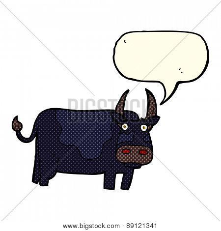cartoon bull with speech bubble