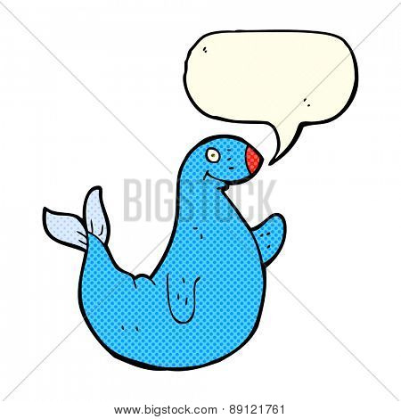 cartoon seal with speech bubble