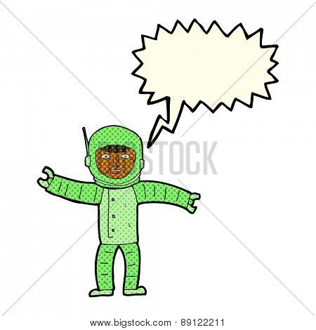 cartoon space man with speech bubble