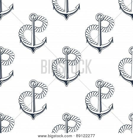 Retro ship anchors seamless pattern with twisted rope