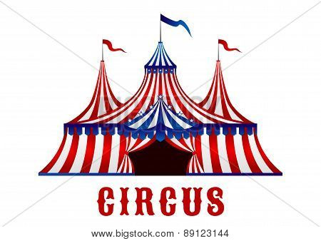 Vintage circus tent with flags and stars