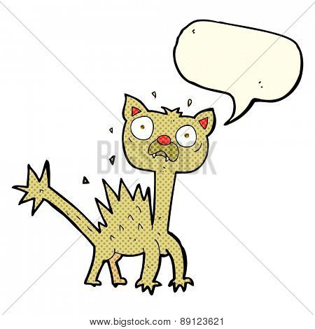 cartoon scared cat with speech bubble