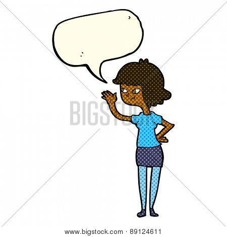 cartoon friendly girl waving with speech bubble