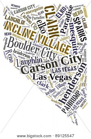 Word Cloud in the shape of Nevada showing some of the cities in the state