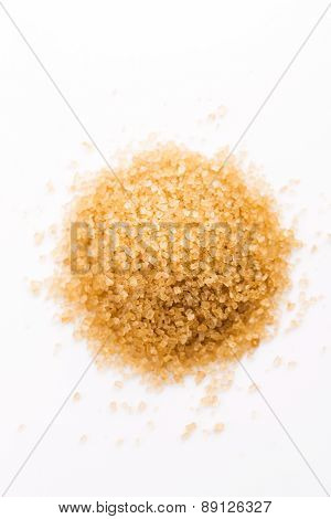 Crystals Cane Sugar Heap Close Up Isolated On White
