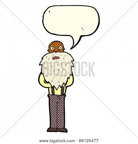 cartoon bearded old man with speech bubble