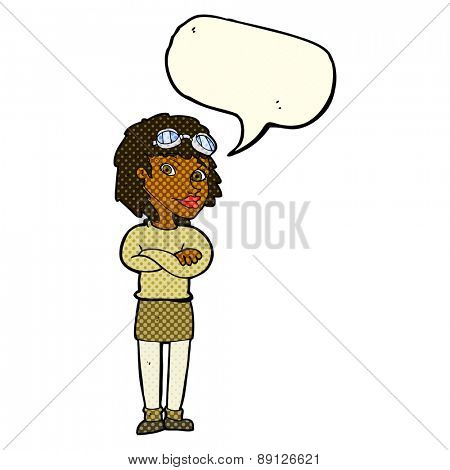 cartoon woman with crossed arms and safety goggles with speech bubble