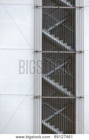 fire stairs with bars, symbol of fire protection, escape route,