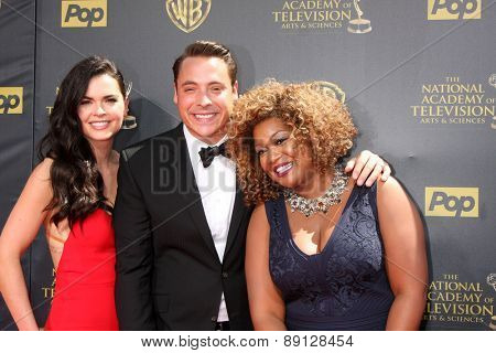 LOS ANGELES - APR 26:  Katie Lee, Jeff Morrow, Sunny Anderson at the 2015 Daytime Emmy Awards at the Warner Brothers Studio Lot on April 26, 2015 in Burbank, CA