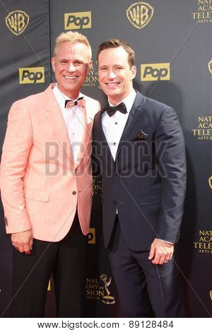LOS ANGELES - APR 26:  George Gray, Mike Richards at the 2015 Daytime Emmy Awards at the Warner Brothers Studio Lot on April 26, 2015 in Burbank, CA