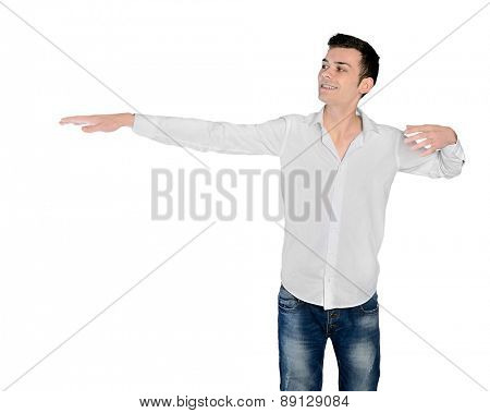 Isolated young man presenting something
