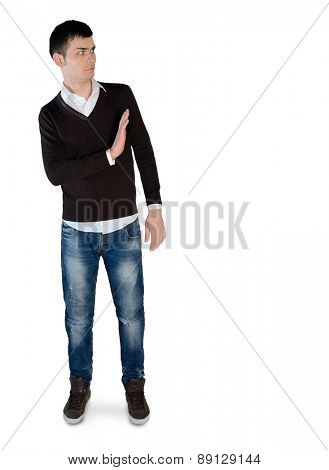 Isolated young man stop sign