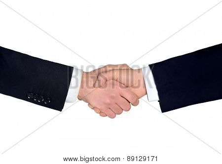 Isolated business man shake hands closeup