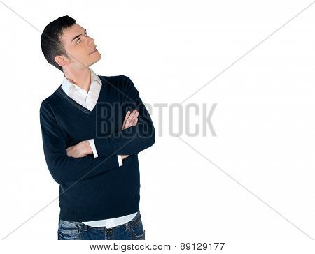 Isolated young man looking up