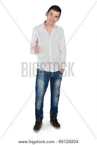 Isolated young man showing ok sign