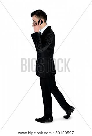 Isolated business man walk with phone