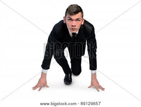 Isolated business man start run position