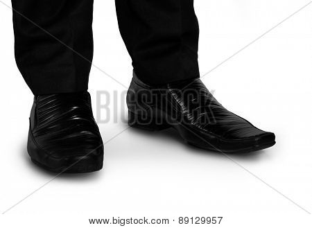 Business man black shoes closeup