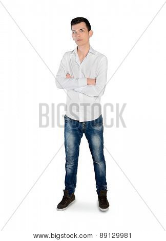 Isolated young man looking camera
