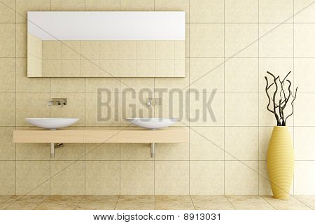 modern bathroom with beige tiles on wall and floor