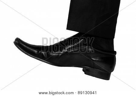 Isolated business man foot crush something
