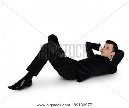 Isolated business man relaxing looking up