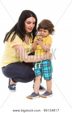 Mother And Son Holding Phone Mobile