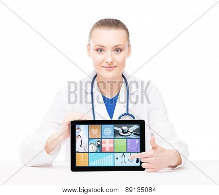Young and professional medical doctor showing a tablet pc. Tile design and technology concept.