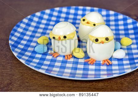 deviled Easter egg chicks
