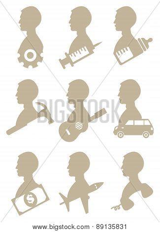Man Profile Silhouette With Icon Symbols