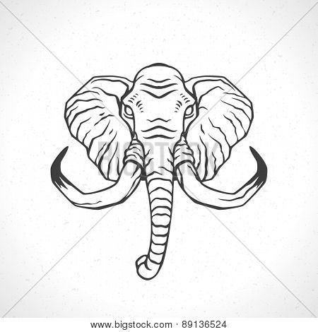 Elephant face logo emblem template mascot symbol for business or shirt design. Vector Vintage Design Element.