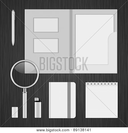 White Logotype presentation corporate identity template Mock up design elements. Vector Business stationery objects, envelope, business card, folder, notepad, book and other.