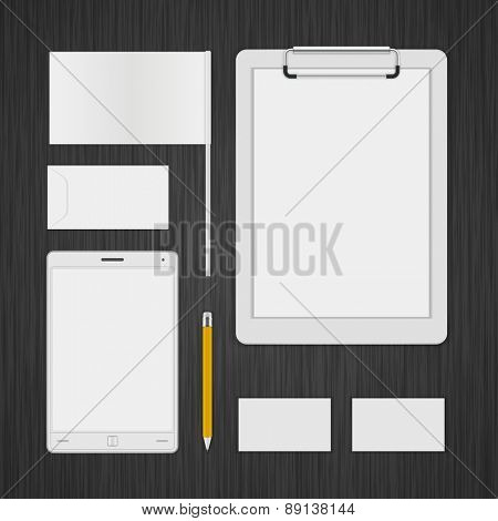 White Logotype presentation corporate identity template Mock up design elements. Vector Business stationery objects, envelope, business card, folder, flag, tablet computer and other.