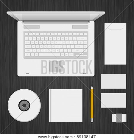 White Logotype presentation corporate identity template Mock up design elements. Vector Business stationery objects, envelope, business card, laptop, cd, pencil and other.