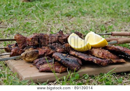 Baked meat on green meadow