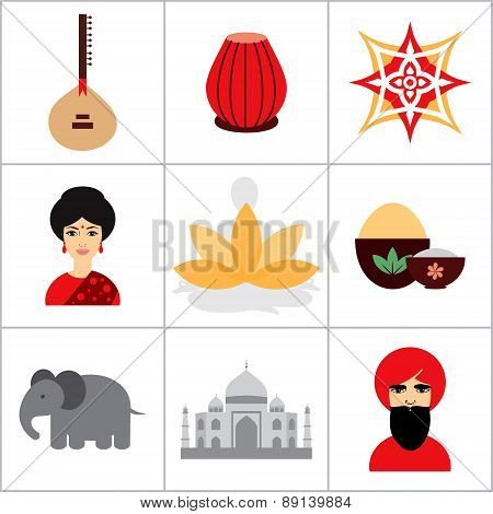 Vector India icon and symbols