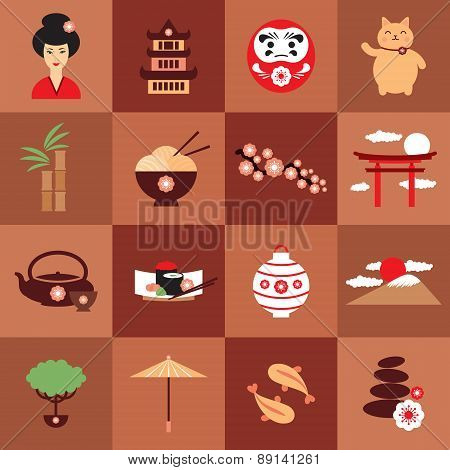 Japan vector symbols. Traditional food and travel icon