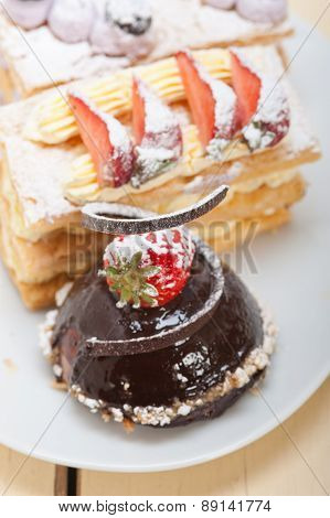 Selection Of Fresh Cream Cake Dessert Plate