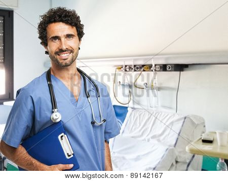 Portrait of a medical worker holding a document