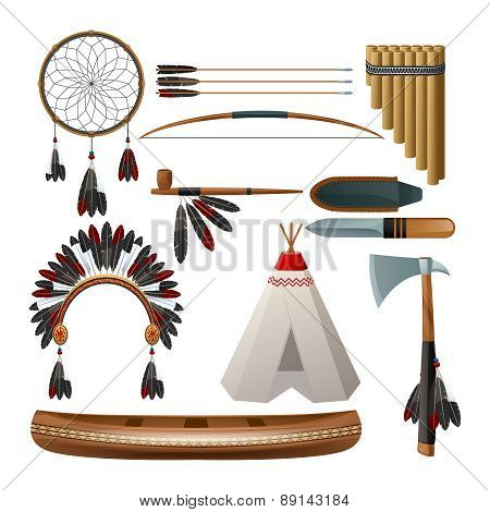 Ethnic american indigenous set