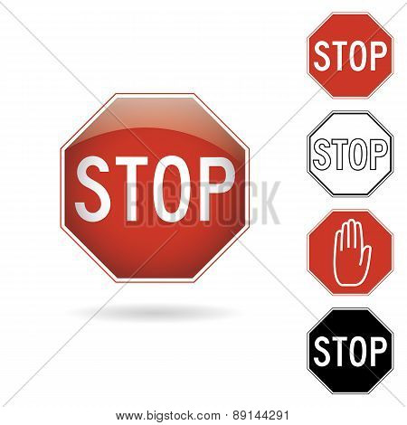 Red and black stop signs