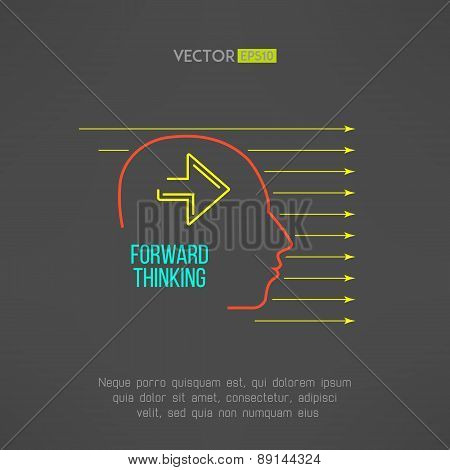 Man face with arrows. Forward thinking concept. Vector illustration.