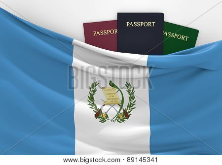Travel and tourism in Guatemala, with assorted passports