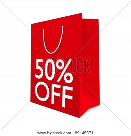 Red paper shopping bag with the words 50% OFF on the side