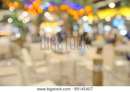 Abstract blurry food hall