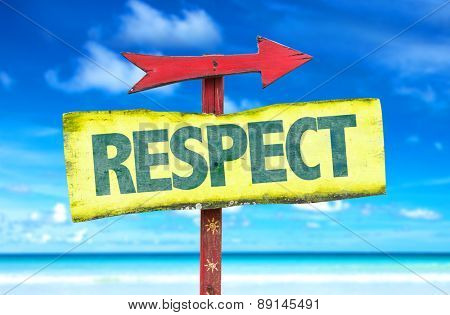 Respect sign with beach background