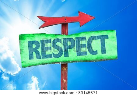 Respect sign with sky background