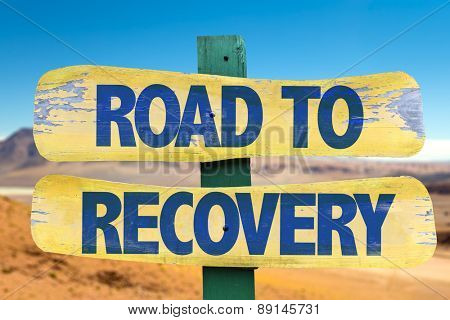 Road to Recovery sign with desert background
