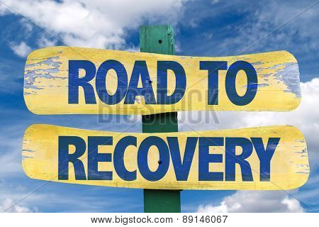 Road to Recovery sign with sky background